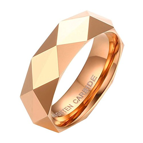 Noemigal Arce 6mm Tungsten Carbide Diamond Faceted Polished Beveled Edge Wedding Engagement Rings(rosegold 8) -