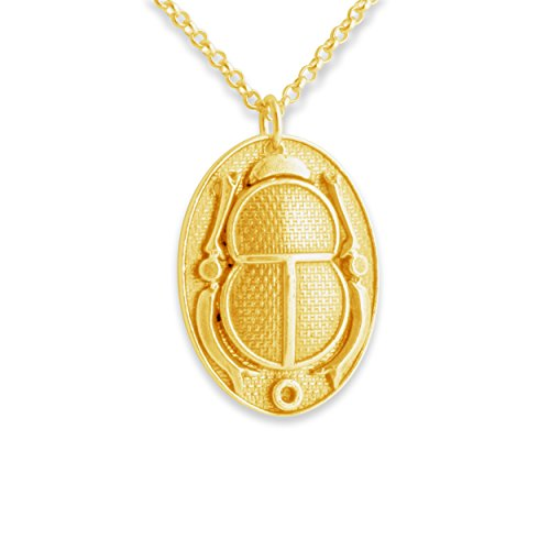 Scarab Cartouche (Azaggi Gold Plated Sterling Silver Handcrafted Ancient Egyptian Hieroglyph Cartouche Scarab Beetle Pendant Necklace (24))