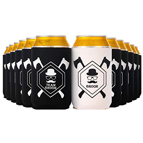 Crisky Bachelor Party Beer Sleeve Bachelor Party Favors Can Covers with Insulated Covers, 12-Ounce Neoprene Coolers for Soda, Beer, Can Beverage, 11 in Black and 1 in White, 2.4 x -
