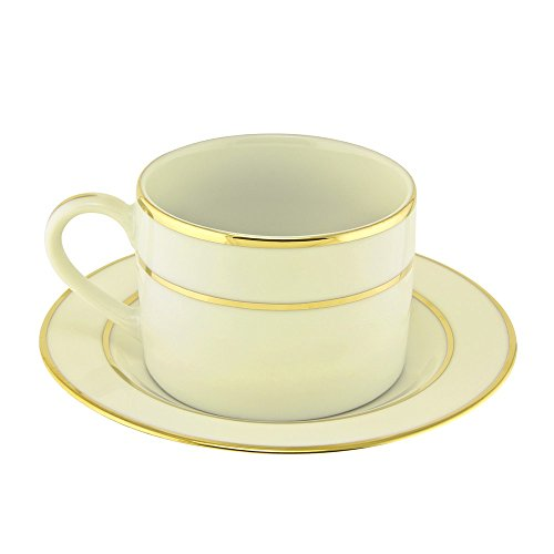 Strawberry Street Cream - 10 Strawberry Street Cream Double Gold Line 6 Oz Can Cup and Saucer, Set of 6, Cream/Gold