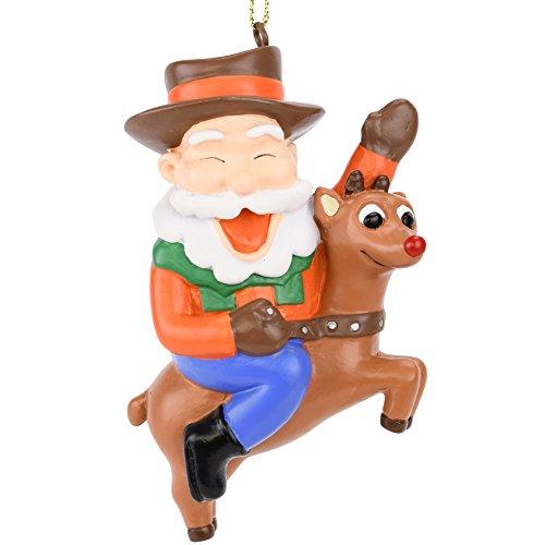 (Tree Buddees Cowboy Santa Riding Rudolph Christmas Ornament )