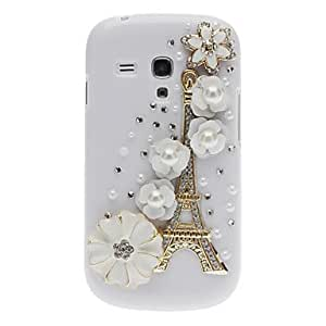 CeeMart Bling Bling Noble Eiffel and Flower Design Hard Case with Rhinestone for Samsung Galaxy S3 Mini I8190