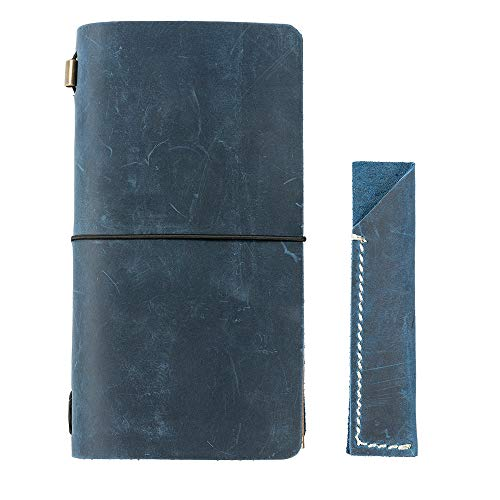 Refillable Genuine Leather Writing Journal Vintage Travelers Notebook,Standard Size Set with Pen Holder, for Men Women, by ZLYC, Navy Blue