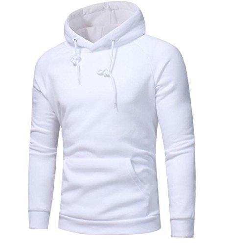 Sheng Xi Men's Solid Pockets Long-Sleeved Simple Sweatshirt Hoodies White S Simple Mens Hoodie