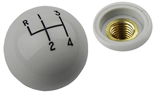 64-88 GM 1 7/8 White Hurst 4 speed Shifter Handle Ball Knob Coarse Thread 3/8-16 (16 Thread Shifter Knobs)