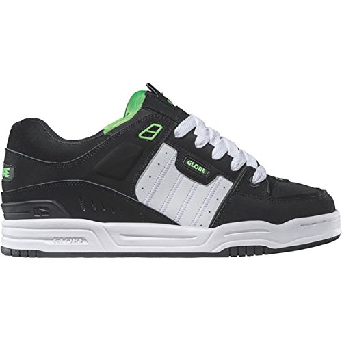 Globe Mens Fusion Shoes, Black/White/Green, 5