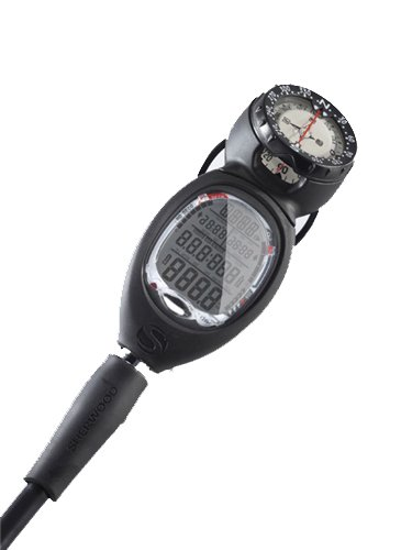 Sherwood Wisdom 3 Air Integrated Scuba Dive Nitrox Computer with Compass and Quick Disconnect (Black Console W/ Compass & QD)