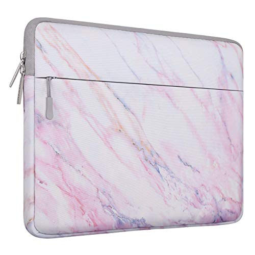 MOSISO Laptop Sleeve Bag Compatible 13-13.3 Inch MacBook Pro, MacBook Air, Notebook Computer with Accessory Pocket, Ultraportable Protective Canvas Marble Pattern Carrying Case Cover, Pink