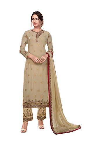PinkCityCreations Indian Women Designer Partywear Ethnic Traditonal Beige Salwar Kameez. by PinkCityCreations