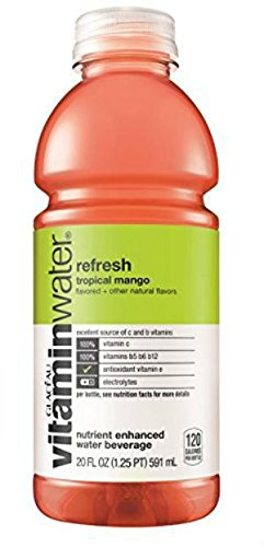 Glaceau Vitamin Water Refresh Tropical Mango, 20 Ounce (12 Bottles)