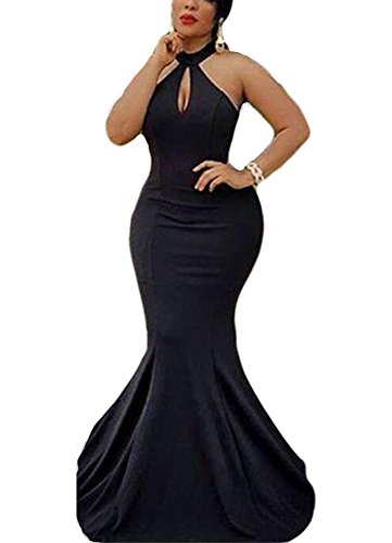 Long Formal Gowns Prom Backless Hater Evening Mermaid 2018 Women's DreHouse Dresses Black 1wq8CIx