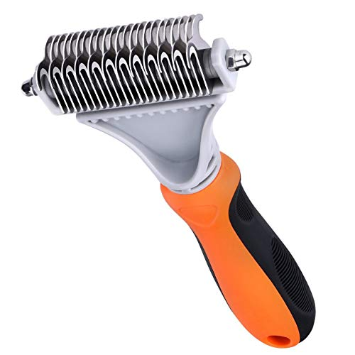 Rake Dematting Undercoat - OMORC Pet Undercoat Rake, 2 Sided Dematting Comb Stainless Steel Pet Safe Blades Dematting Tool for Dogs & Cats - Professional Pet Grooming Tool for Removing Undercoat Knots, Mats &Tangled Hair Orange