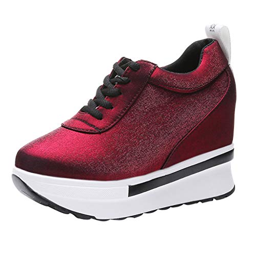 HOSOME Women Sneakers Sports Running Hiking Shoes Thick Fashion Bottom Platform Shoes (♥Wine, 36)
