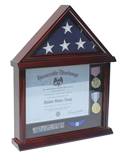 3-X5-Flag-Certificate-Display-Case-Cabinet-Shadow-Box-Mahogany-Finish-Not-the-right-size-for-Funeral-or-Memorial-flag
