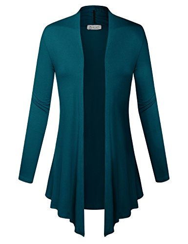 BIADANI Women Pearl Button Long Sleeve Soft Knit and Open Front Cropped Cardigan Sweater