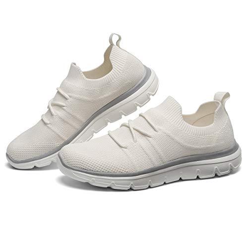 d37b45fd6364c GM GOLAIMAN Women's Casual Walking Shoes Fashion Sneakers Flyknit Slip on  Sock Running Shoes White 9