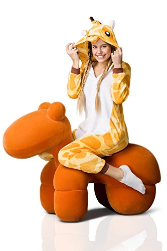Nothing But Love Adult Giraffe Onesie Pajamas Kigurumi Animal Cosplay Costume One Piece Fleece Pjs (M, Yellow, White) by Nothing But Love (Image #1)
