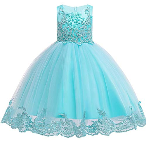 Dress for Girl Child Graduation 7 8 Gold Sequin Big Girl A Line Size 10 Years Formal Wedding Green Ball Gown Birthday Princess Pageant Tulle Dresses (Tiffany Blue, 110)