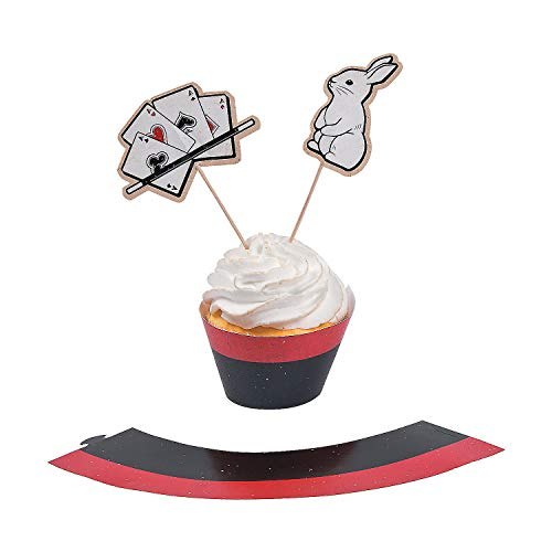 - Fun Express - Magical Party Cupcake Collars W/Picks for Birthday - Party Supplies - Serveware & Barware - Picks & Stirrers & Parasols - Birthday - 100 Pieces