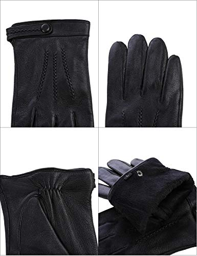 Sheeper Men's Touchscreen Texting Genuine Leather Driving Gloves Motorcycle Gloves (Black) M by Sheeper (Image #6)