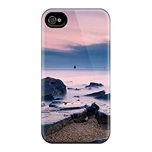 New Rocks On The Beach Flat Sea Tpu Skin Case Compatible With Iphone 4/4s