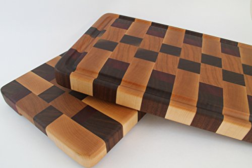 Stunning Handcrafted Wood Cutting Board - End Grain - Walnut, Maple, Cherry and Purpleheart. Option w/juice groove. No slip bottom! Wow!!!