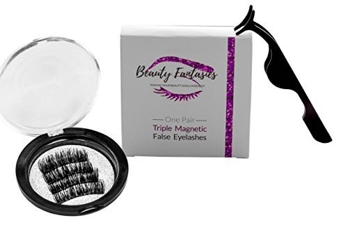 BEAUTY FANTASIES Premium Full Magnetic Eyelashes | Reusable Soft False Lashes | 3D Eyelash Extensions Pack | NO GLUE | 3 Magnets That Cover Entire LashLine For Natural Look (4 PCS) FREE APPLICATOR