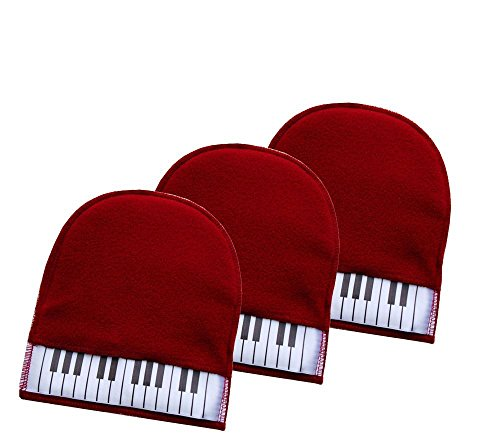 3pcs Piano Keys Clean Piano Gloves Plush Cashmere Duster Cloth - 8 ()
