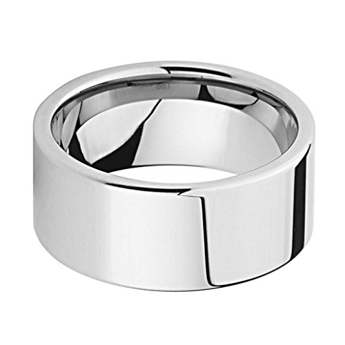 10MM THICK Wellingsale LUXE Series Cobalt Free, Comfort Fit Flat Tungsten Wedding Band Ring with Smooth Rounded Edges for Comfortable Wearing in Mirror High Polished Finish for Men and Women - Size 13 by Wellingsale® (Image #1)