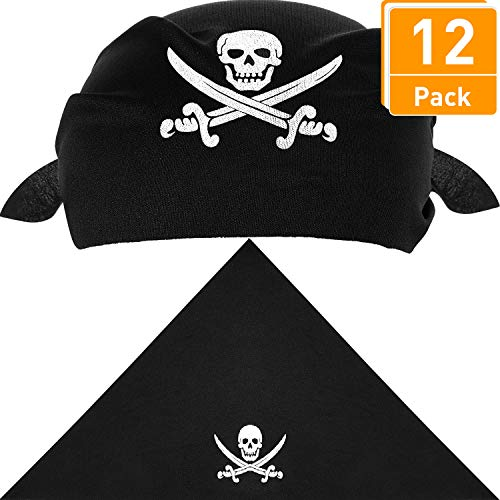 Price comparison product image Blulu 12 Pack Pirate Bandana Black Pirate Captain's Headscarf for Pirate Theme Party, Halloween and Children Party Favors, 21.5 x 21.5 x 28.5 inches