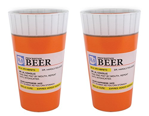 BigMouth Inc Prescription Pint Glass, Set of 2