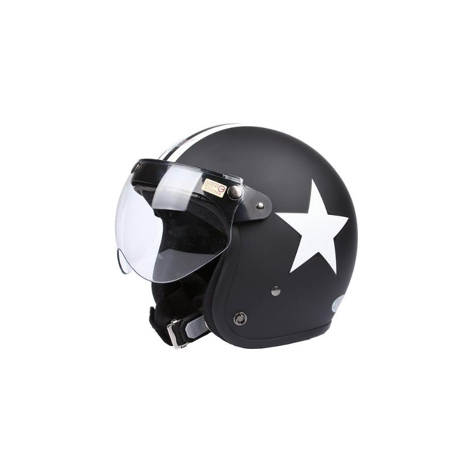 Flat Matte Black White Star Open Face Motorcycle Helmet Retro Vintage EVO Helmet Sports Street Bike Cruiser Scooter Snowmobile Helmet