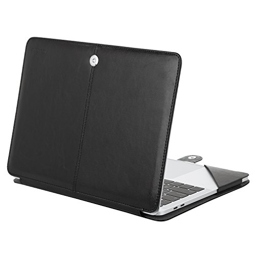 Mosiso MacBook Pro 13 PU Leather Case 2017 / 2016 Release A1706 / A1708, Book Folio Stand Cover with Clear Straps at Top Corners for Newest MacBook Pro 13 Inch with/without Touch Bar, Black