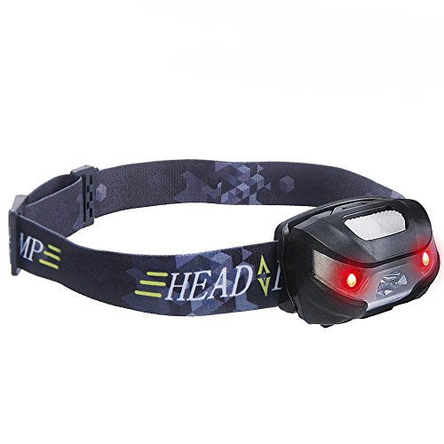 Helmet Night Light - SUPERBRIGHT Rechargeable LED Headlight, QPAU Helmet Light Red Lights Adjustable Strip for Cycling, Running, Walking, Camping, Fishing, Hiking, Hunting and More Activity