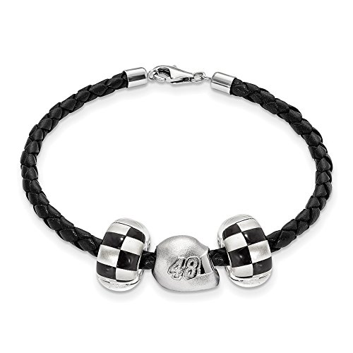 STERLING SILVER LogoArt Official Licensed NASCAR LEATHER BRACELET TWO CROSSED FLAG BEADS 48 JIMMIE JOHNSON 3D DRIVER HELME by Logo Art