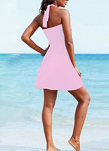 Vestido Para Mujeres Envuelto Pecho Color Sólido Respirable Traje De Baño Vestidos Playa Pink
