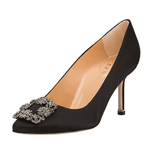 onds Middle Heels Pumps Clpsed Toe Party Wedding Black-7cm 8.5 US ()