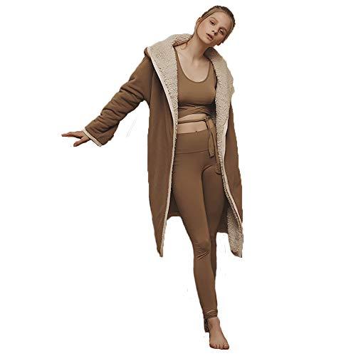 De Acolchado Tamaño Baño Batas Camisón Mujeres L A Las Brown Pijamas Albornoz Togas Brown color Servicio Bolsillo Casual Domicilio Toalla wcFzq5f5