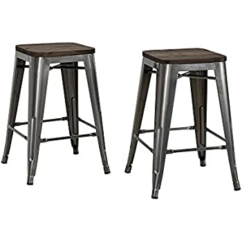 Incredible Dhp Fusion Metal Backless 24 Counter Stool With Wood Seat Distressed Metal Finish For Industrial Appeal Set Of Two Antique Gun Metal Gmtry Best Dining Table And Chair Ideas Images Gmtryco