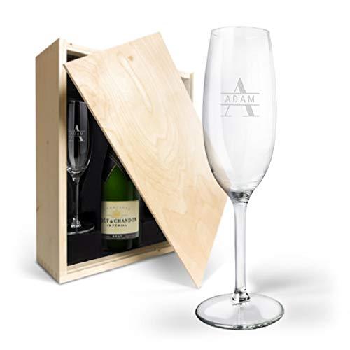 Moët Champagner Geschenk – Moët & Chandon Brut Champagner Geschenk mit edler Holzkiste, Flasche Moët & Chandon 750 ml…