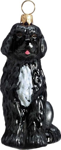 The Pet Set Blown Glass European Dog Ornament by Joy to the World Collectibles - Portuguese Water Dog ()