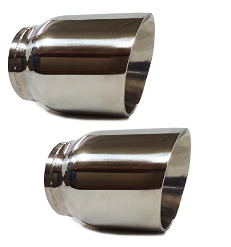 Pair Of Two Universal angle cut Stainless steel exhaust tip 3 Inlet 4 Outlet 5.5 Long