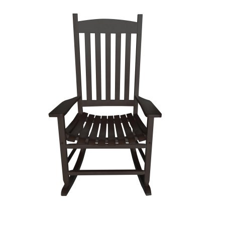 Mainstays Outdoor Traditional Black Wood Slat Rocking Chair (Ship Chair Rocking Wooden)