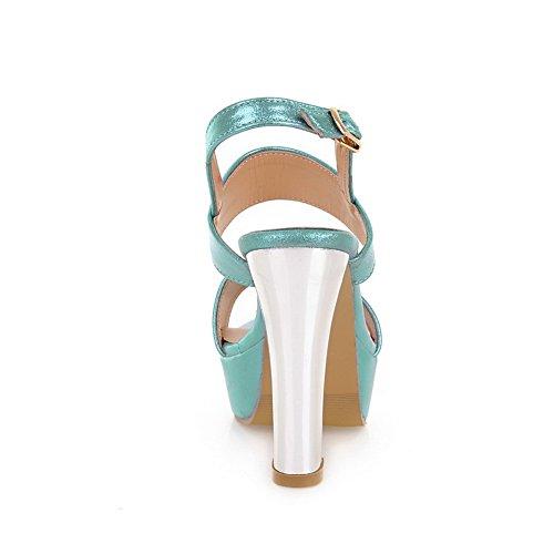 Amoonyfashion Donna Open Toe Tacco Alto Piattaforma Materiale Morbido Pu Sandali Solido Blu