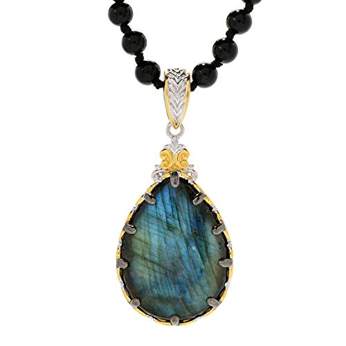 - Michael Valitutti Palladium Silver Labradorite and Black Coral Pendant