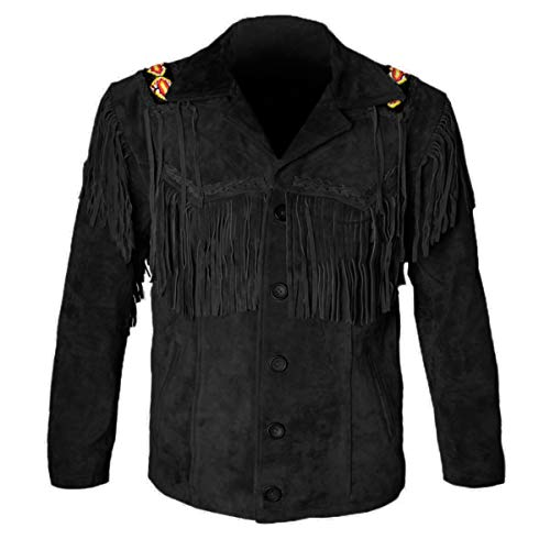 MSHC Western Cowboy Men's Brown Fringed Suede Leather Jacket D1 - Black V1-2XL