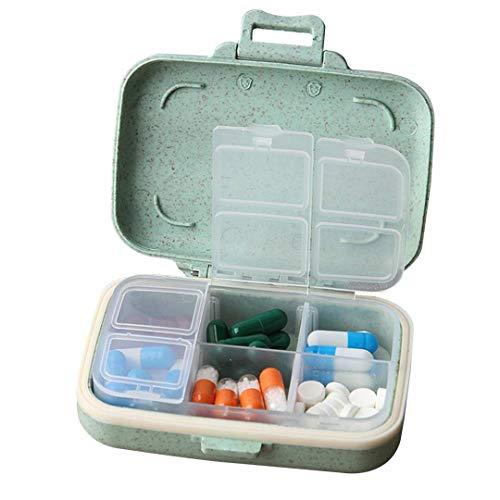MOST ORIGINAL DESIGNM Small Cute Pill Case Traveling Vitamin Medications Organizer Removable Inner Divider Safe Plastic Material 6 Compartment Pill Box Green (Green)