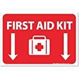 """(2 Pack) First Aid Kit Sign - High Quality - Self Adhesive 7 X 10"""" 4 Mil Vinyl Decal - Indoor & Outdoor Use - UV Protected & Waterproof - Sleek"""