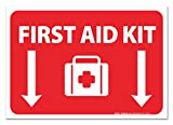 (2 Pack) First Aid Kit Sign - Self Adhesive 7 X 10 4 Mil Vinyl Decal - Indoor & Outdoor Use - UV Protected & Waterproof - Sleek