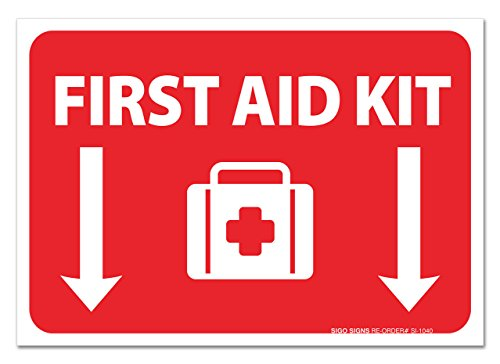 First Aid Station Sign ((2 Pack) First Aid Kit Sign - Self Adhesive 7 X 10 4 Mil Vinyl Decal - Indoor & Outdoor Use - UV Protected & Waterproof - Sleek)